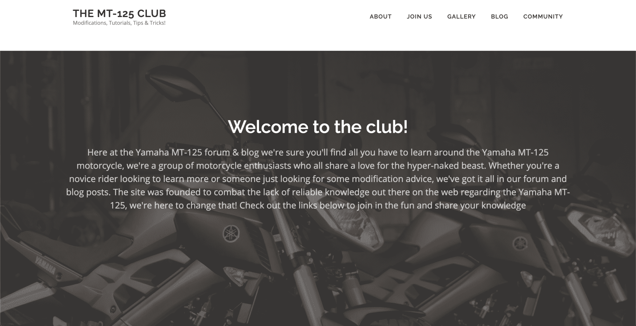 A showcase of a website created for the Yamaha MT-125 club by KY Designs