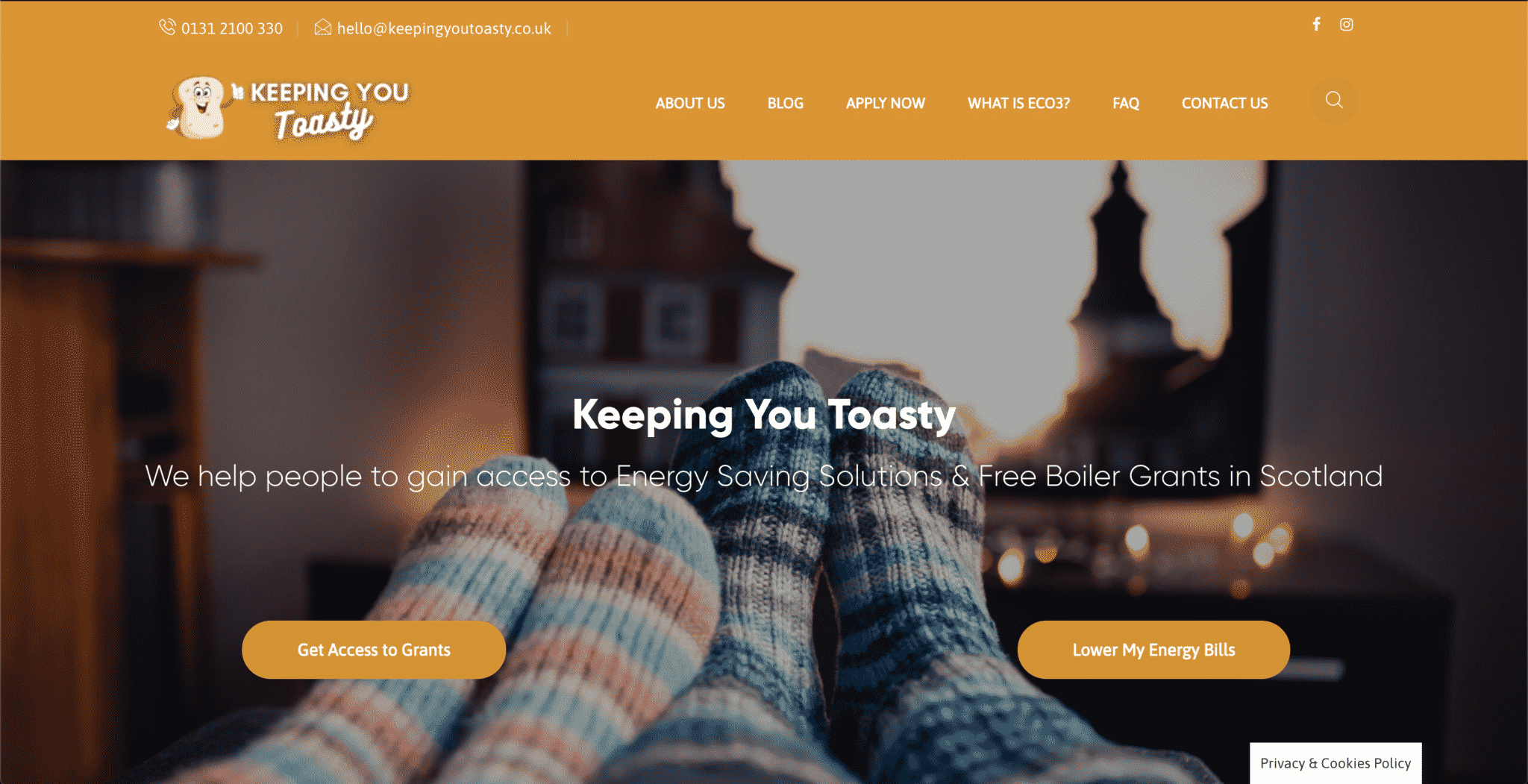 A website for Keeping You Toasty created by KY Designs