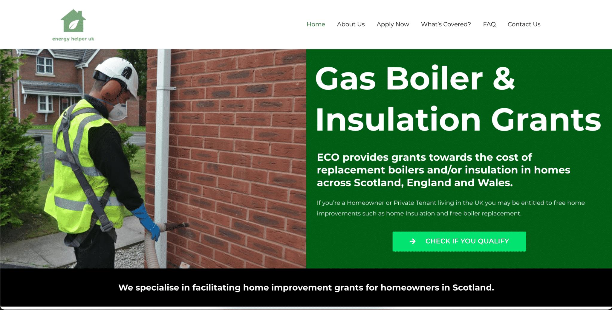 Image of Energy Helper UKs website created by KY Designs