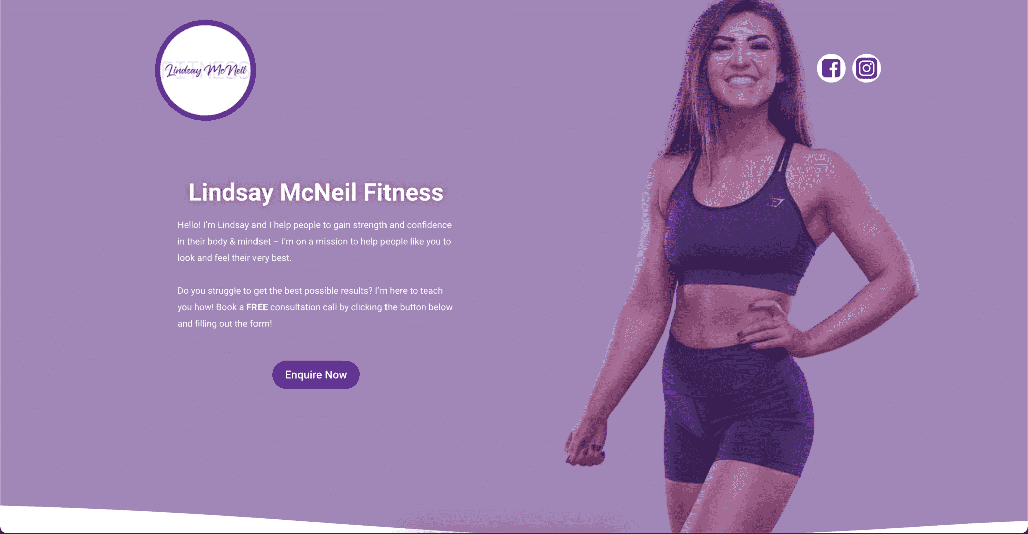 Lindsay McNeil's fitness website created by KY Designs in Fife